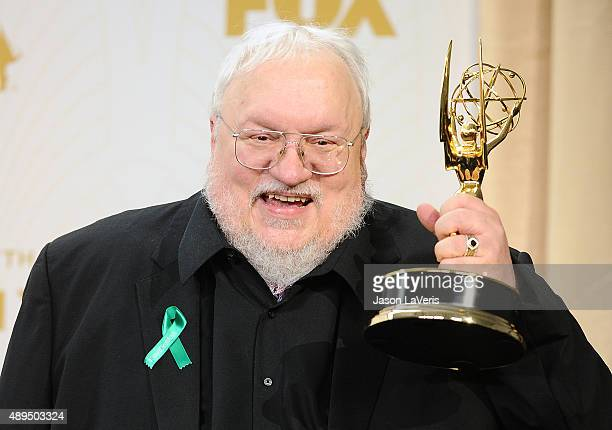 George R.R. Martin poses in the press room at the 67th annual Primetime Emmy Awards at Microsoft Theater on September 20, 2015 in Los Angeles,...
