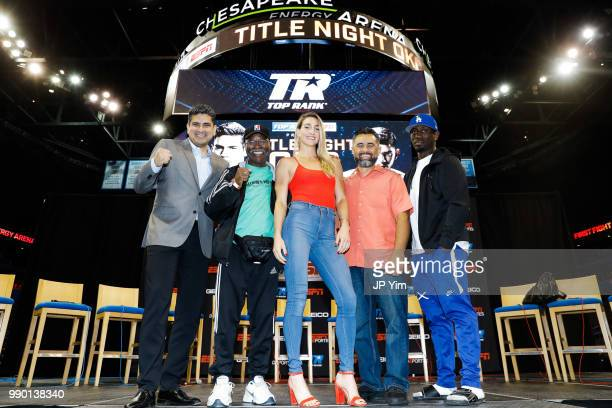 George Ruiz Al Mitchell Mikaela Mayer Manny Robles and Kay Koroma pose for a photo during the fight week press conference at Chesapeake Energy Arena...