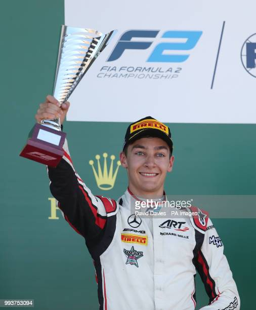 George Russell after finishing 2nd in the F2 British Grand Prix at Silverstone Circuit Towcester