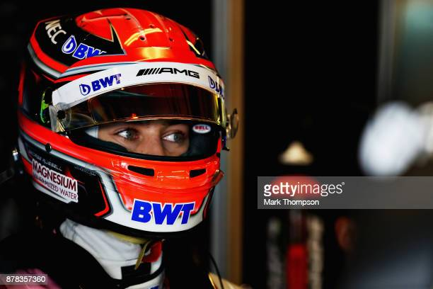 George Russell of Great Britain and Force India prepares to drive in the garage during practice for the Abu Dhabi Formula One Grand Prix at Yas...