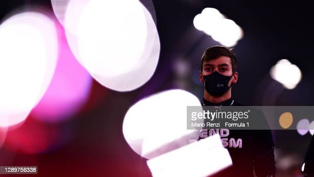 George Russell of Great Britain and Mercedes GP looks on from the grid before the F1 Grand Prix of Sakhir at Bahrain International Circuit on...