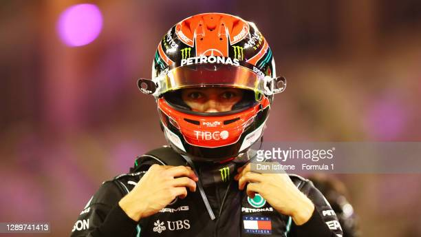 George Russell of Great Britain and Mercedes GP prepares to drive on the grid before the F1 Grand Prix of Sakhir at Bahrain International Circuit on...