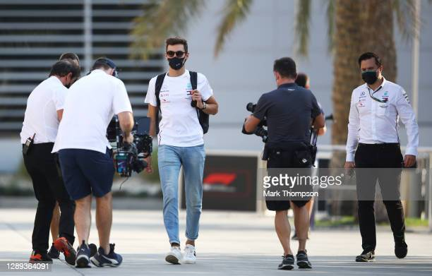 George Russell of Great Britain and Mercedes GP walks in the Paddock before practice ahead of the F1 Grand Prix of Sakhir at Bahrain International...