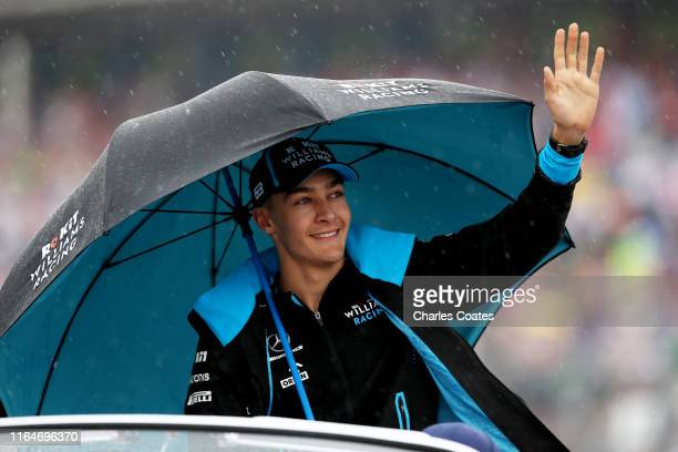 George Russell of Great Britain and Williams waves to the crowd on the drivers parade before the F1 Grand Prix of Germany at Hockenheimring on July...
