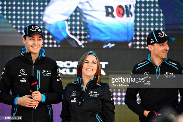 George Russell of Great Britain and Williams, Williams Deputy Team Principal Claire Williams and Robert Kubica of Poland and Williams talk on stage...