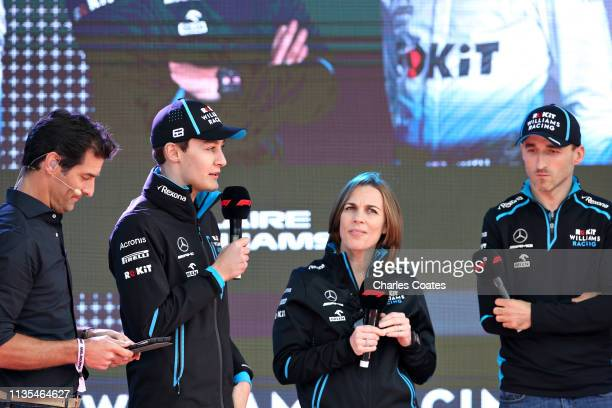 George Russell of Great Britain and Williams Williams Deputy Team Principal Claire Williams and Robert Kubica of Poland and Williams talk on stage at...