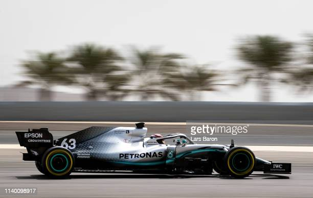 George Russell of Great Britain driving Mercedes AMG Petronas F1 Team Mercedes W10 during F1 testing in Bahrain at Bahrain International Circuit on...