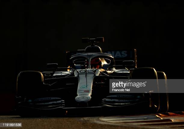 George Russell of Great Britain driving the Mercedes AMG Petronas F1 Team Mercedes W10 during day two of F1 End of Season Testing in Abu Dhabi at Yas...