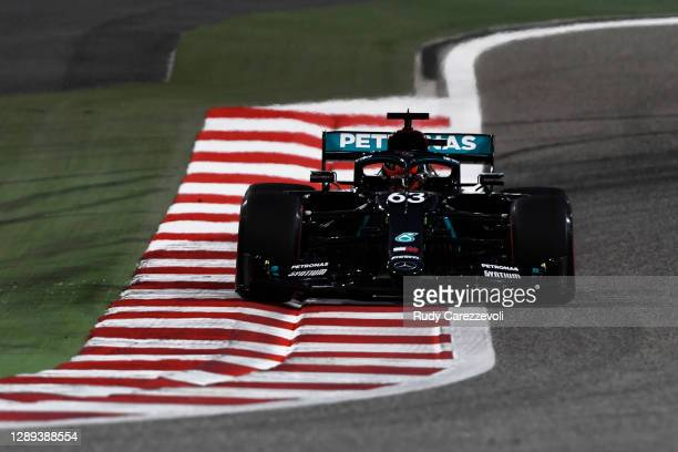 George Russell of Great Britain driving the Mercedes AMG Petronas F1 Team Mercedes W11 on track during practice ahead of the F1 Grand Prix of Sakhir...