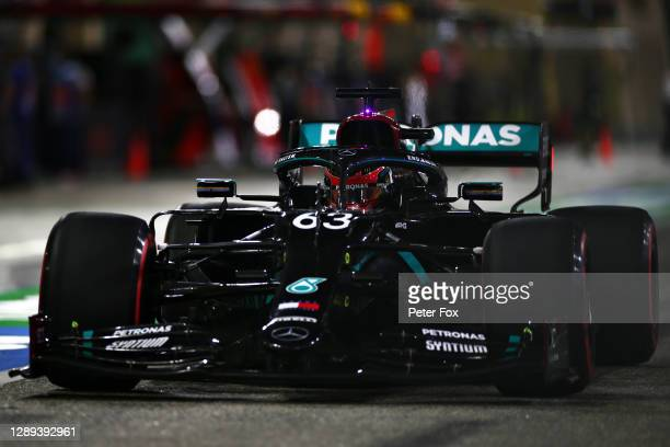 George Russell of Great Britain driving the Mercedes AMG Petronas F1 Team Mercedes W11 in the Pitlane during practice ahead of the F1 Grand Prix of...