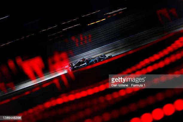 George Russell of Great Britain driving the Mercedes AMG Petronas F1 Team Mercedes W11 during practice ahead of the F1 Grand Prix of Sakhir at...