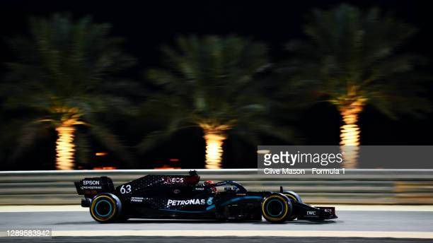 George Russell of Great Britain driving the Mercedes AMG Petronas F1 Team Mercedes W11 during qualifying ahead of the F1 Grand Prix of Sakhir at...