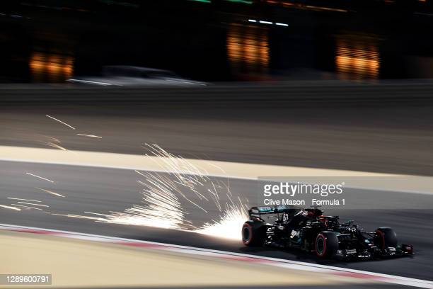 George Russell of Great Britain driving the Mercedes AMG Petronas F1 Team Mercedes W11 during final practice ahead of the F1 Grand Prix of Sakhir at...