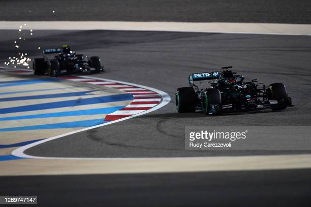George Russell of Great Britain driving the Mercedes AMG Petronas F1 Team Mercedes W11 leads Valtteri Bottas of Finland driving the Mercedes AMG...