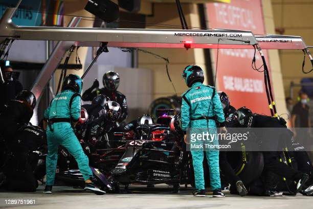 George Russell of Great Britain driving the Mercedes AMG Petronas F1 Team Mercedes W11 makes a pitstop during the F1 Grand Prix of Sakhir at Bahrain...
