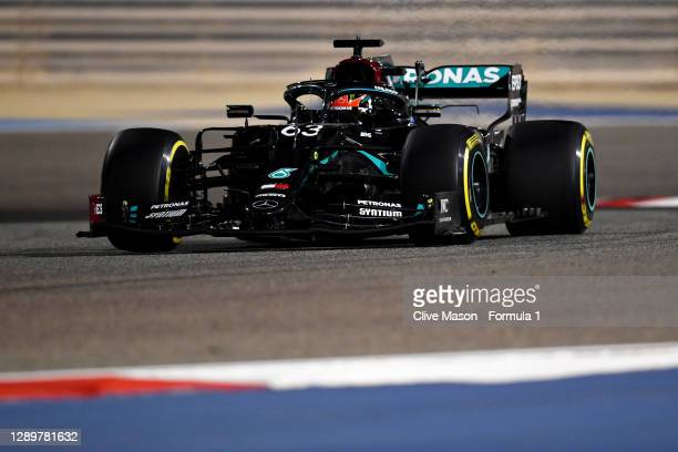 George Russell of Great Britain driving the Mercedes AMG Petronas F1 Team Mercedes W11 during the F1 Grand Prix of Sakhir at Bahrain International...