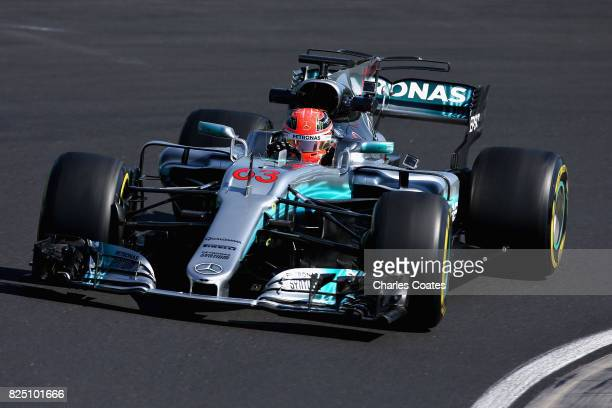 George Russell of Great Britain driving the Mercedes AMG Petronas F1 Team Mercedes F1 WO8 during day one of F1 inseason testing at Hungaroring on...