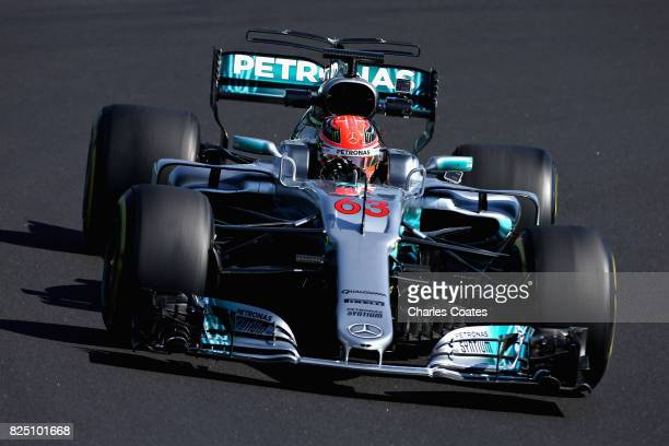 George Russell of Great Britain driving the Mercedes AMG Petronas F1 Team Mercedes F1 WO8 during day one of F1 in-season testing at Hungaroring on...
