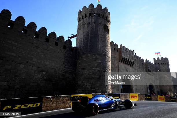 George Russell of Great Britain driving the Rokit Williams Racing FW42 Mercedes on track during the F1 Grand Prix of Azerbaijan at Baku City Circuit...