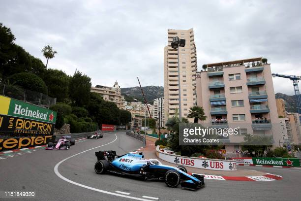 George Russell of Great Britain driving the Rokit Williams Racing FW42 Mercedes on track during the F1 Grand Prix of Monaco at Circuit de Monaco on...