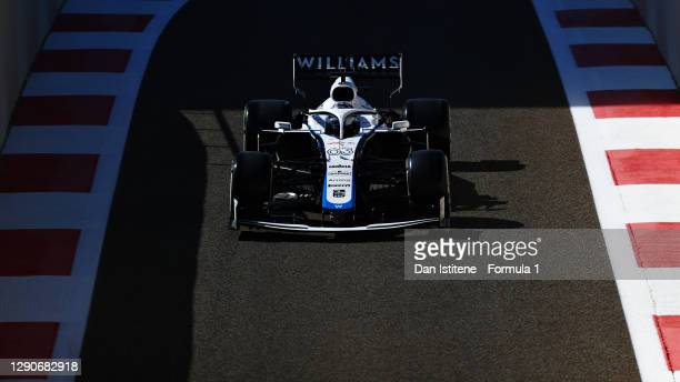 George Russell of Great Britain driving the Williams Racing FW43 Mercedes on track during practice ahead of the F1 Grand Prix of Abu Dhabi at Yas...