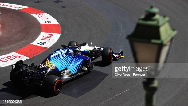 George Russell of Great Britain driving the Williams Racing FW43B Mercedes during practice ahead of the F1 Grand Prix of Monaco at Circuit de Monaco...