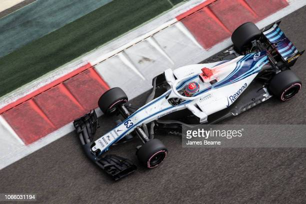 George Russell of Great Britain Williams Martini Racing FW41 Mercedes during day one of F1 End of Season Testing at Yas Marina Circuit on November 27...