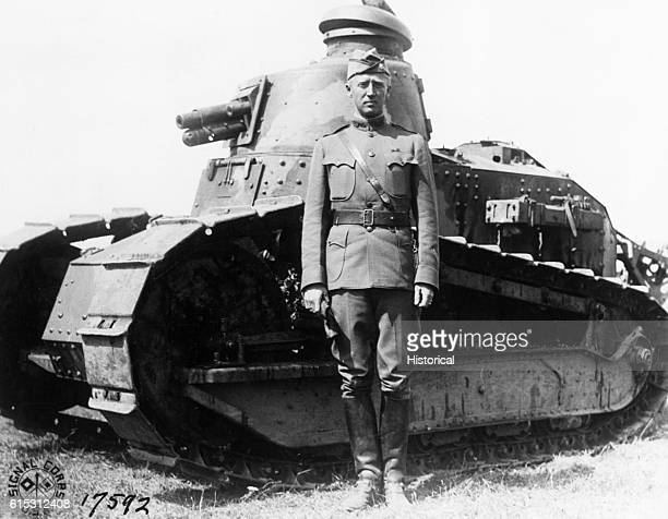 George S Patton Jr poses with a tank from his tank corps during a command as a lieutenant colonel in France during World War I