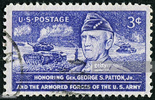 george s. patton stamp - george patton stock pictures, royalty-free photos & images