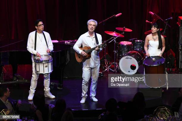 George Salazar David Byrne and Diane Phelan perform onstage during the WITNESS 25th Anniversary Gala at The Edison Ballroom on May 11 2017 in New...