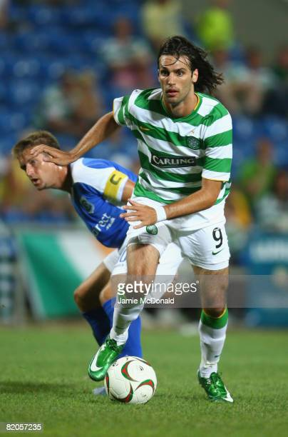 George Samaras of Celtic is shown in action during the Algarve Challenge Cup match against Cardiff at the Estadio Algarve on July 24 2008 in Faro...