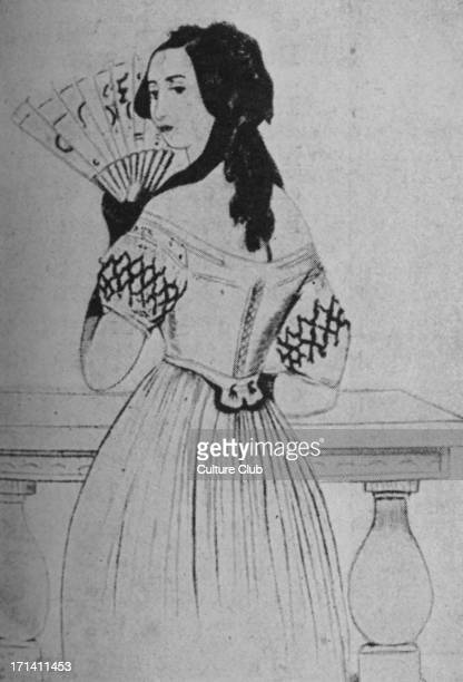 George Sand fanning herself French novelist and feminist 1 July 1804 – 8 June 1876 From a drawing by Alfred de Musset 11 December 1810 – 2 May 1857