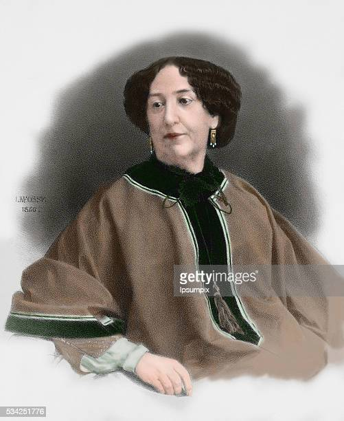 George Sand French writer Engraving by Lafosse 1866 Colored
