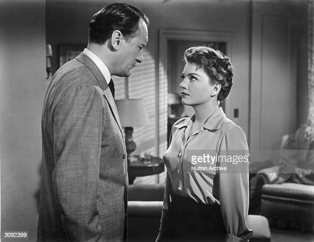George Sanders and Anne Baxter in a scene from the 20th Century Fox film 'All About Eve'. George Sanders won an Oscar for his performance in the...