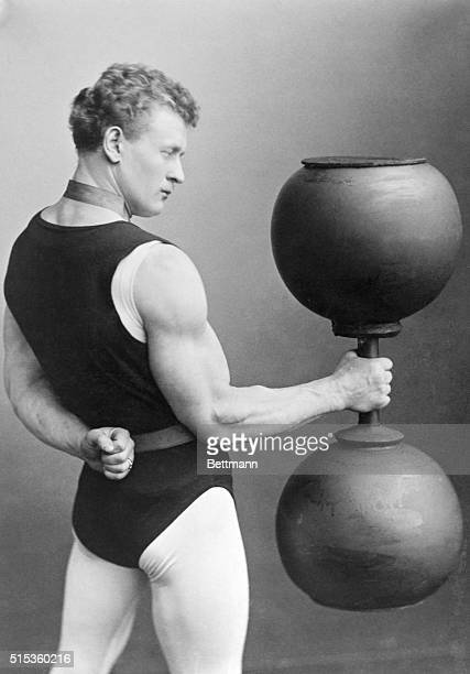 George Sandow the strong man in weightlifting act
