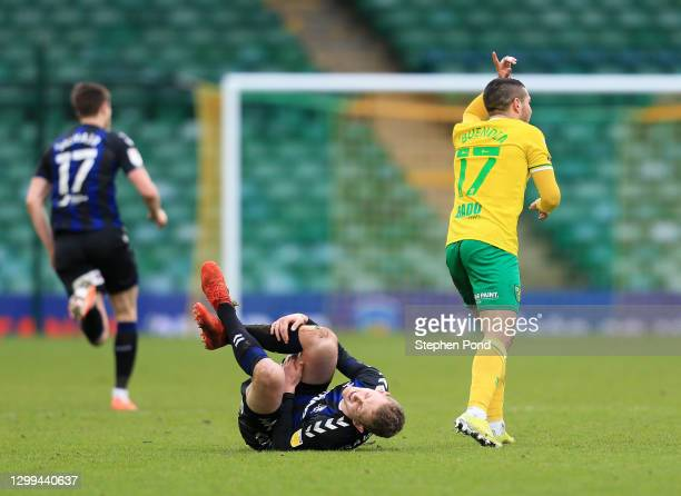 George Saville of Middlesborough goes to ground after a challenge from Emiliano Buendia of Norwich City, which Emiliano Buendia of Norwich City is...