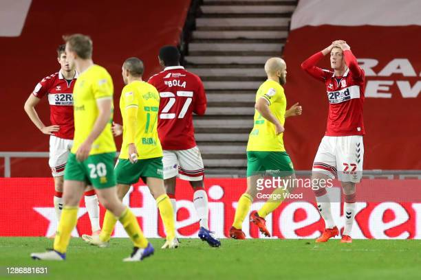 George Saville of Middlesborough reacts as Norwich City are awarded a penalty during the Sky Bet Championship match between Middlesbrough and Norwich...