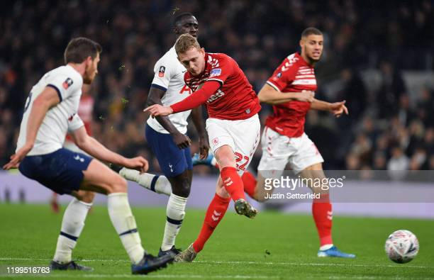 George Saville of Middlesbrough scores his sides first goal during the FA Cup Third Round Replay match between Tottenham Hotspur and Middlesbrough FC...