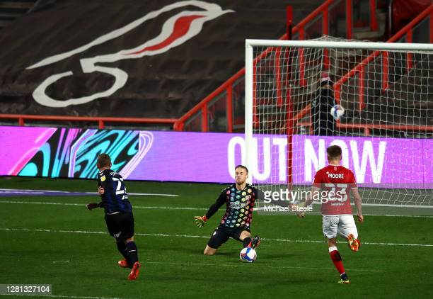 George Saville of Middlesbrough scores his sides first goal during the Sky Bet Championship match between Bristol City and Middlesbrough at Ashton...