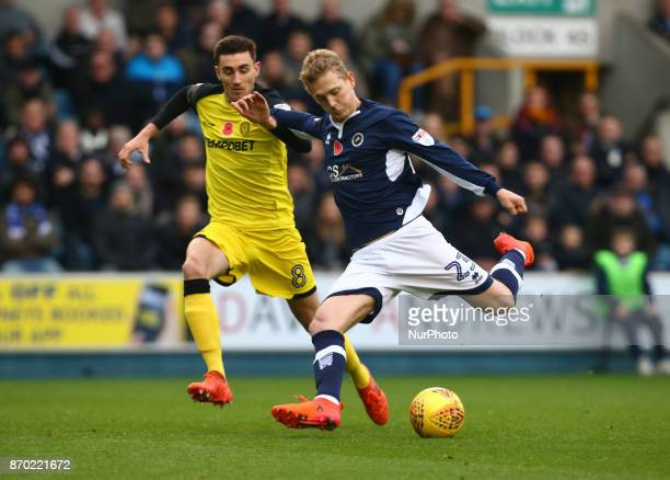George Saville of Millwall during Sky Bet Championship match between Millwall against Burton Albion FC at The Den London on 04 Nov 2017