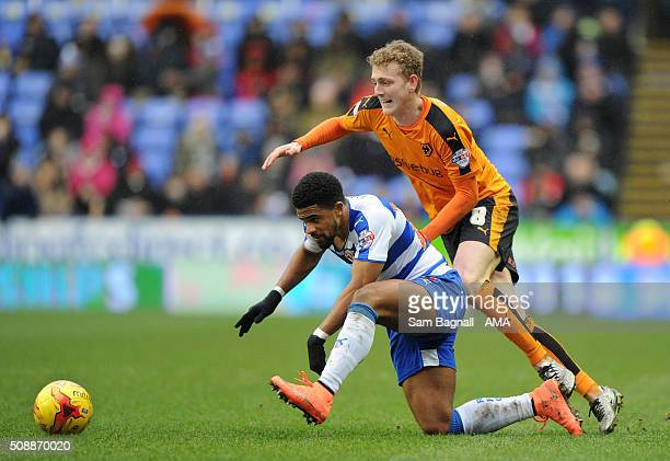 George Saville of Wolverhampton Wanderers and Gareth McCleary of Reading during the Sky Bet Championship match between Reading and Wolverhampton...