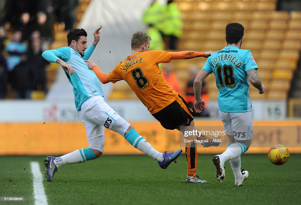 George Saville of Wolverhampton Wanderers celebrates after scoring a goal to make it 1-0 during the Sky Bet Championship match between Wolverhampton Wanderers and Derby County at Molineux on February 27, 2016 in Wolverhampton, United Kingdom.
