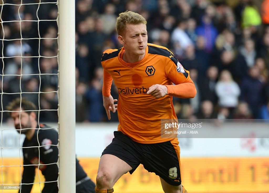 George Saville of Wolverhampton Wanderers celebrates after scoring a goal to make it 2-1 during the Sky Bet Championship match between Wolverhampton Wanderers and Derby County at Molineux on February 27, 2016 in Wolverhampton, United Kingdom.