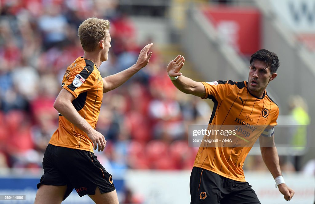 George Saville of Wolverhampton Wanderers celebrates after scoring a goal to make it 2-1 during the Sky Bet Championship match between Rotherham United v Wolverhampton Wanderers at The New York Stadium on August 6, 2016 in Rotherham, England.