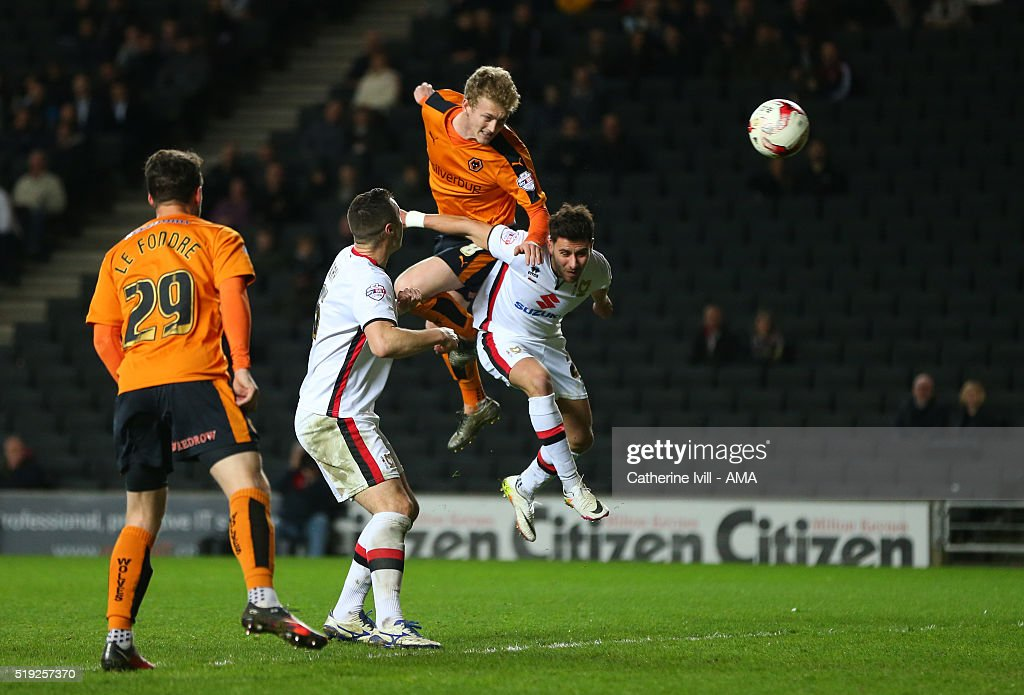George Saville of Wolverhampton Wanderers scores a goal to make it 1-1 during the Sky Bet Championship match between MK Dons and Wolverhampton Wanderers at Stadium mk on April 5, 2016 in Milton Keynes, United Kingdom.