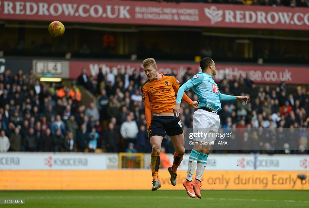 George Saville of Wolverhampton Wanderers scores a goal to make it 2-1 during the Sky Bet Championship match between Wolverhampton Wanderers and Derby County at Molineux on February 27, 2016 in Wolverhampton, United Kingdom.