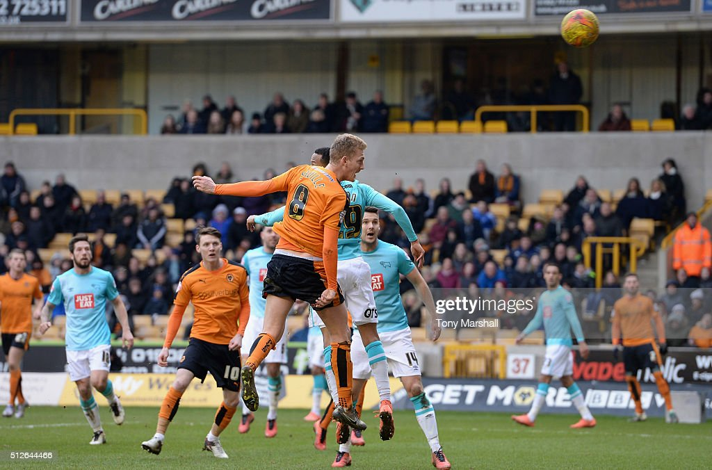 George Saville of Wolverhampton Wanderersheads the ball to score their second goal during the Sky Bet Championship match between Wolverhampton Wanderers and Derby County at Molineux on February 27, 2016 in Wolverhampton, United Kingdom.