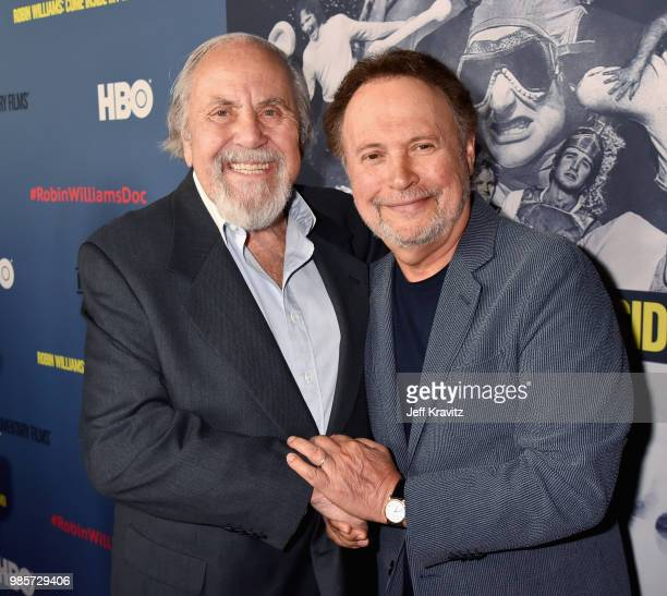 George Schlatter and Billy Crystal attend the Los Angeles Premiere of Robin Williams Come Inside My Mind from HBO on June 27 2018 in Hollywood...