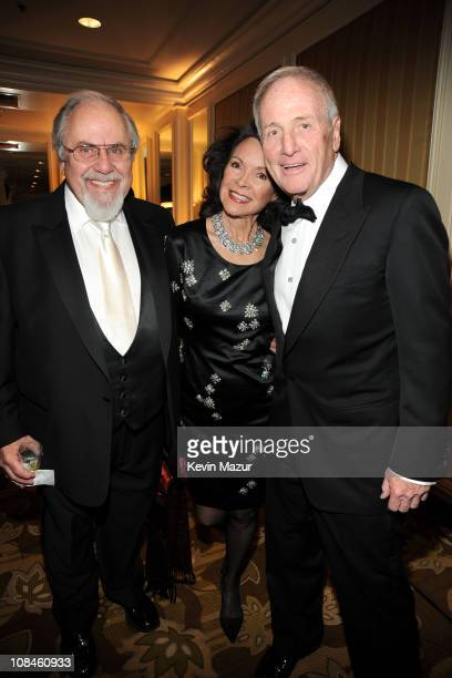 George Schlatter Jolene Schlatter and honoree Jerry Weintraub arrive at the UNICEF Ball held at the Beverly Wilshire Hotel on December 10 2009 in...