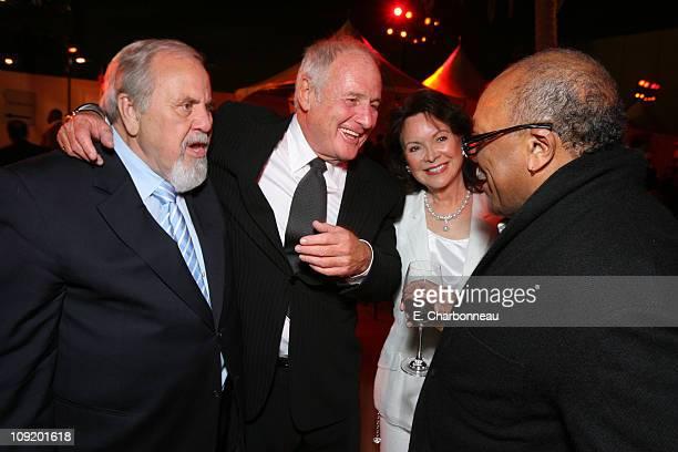 George Schlatter Producer Jerry Weintraub Jolene Schlatter and Quincy Jones